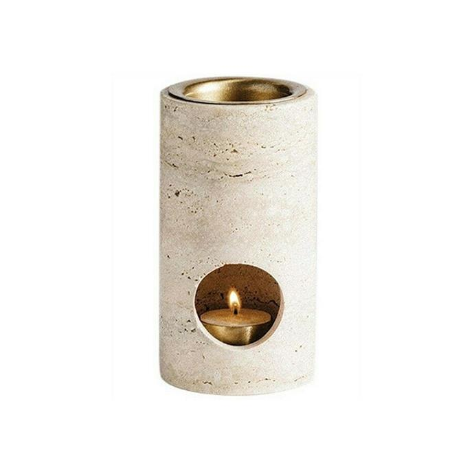 "Addition studio synergy travertine oil burner, $189, [Design Stuff](https://www.designstuff.com.au/product/addition-studio-synergy-oil-burner-travertine/|target=""_blank""