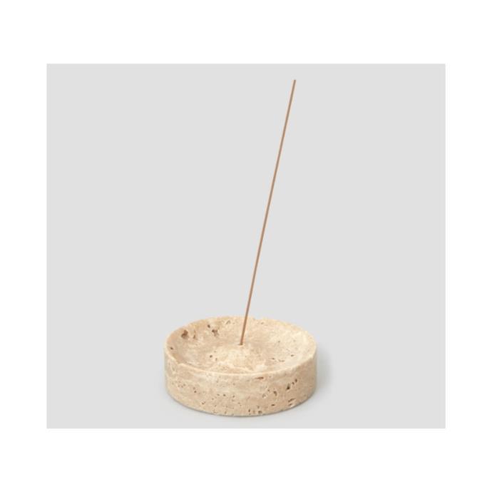 "Travertine incense holder, $65, ['Jentl](https://www.jentl.com.au/products/travertine-incense-burner?variant=32236375408723&utm_medium=cpc&utm_source=google&utm_campaign=Google%20Shopping&gclid=Cj0KCQiAy579BRCPARIsAB6QoIaFwS5rSmtUZ-WrS5NlMzyYyvSbeoHlZO2qjruN8lfdGnmGMPPvpXIaAkw2EALw_wcB target=""_blank"" rel=""nofollow"")"