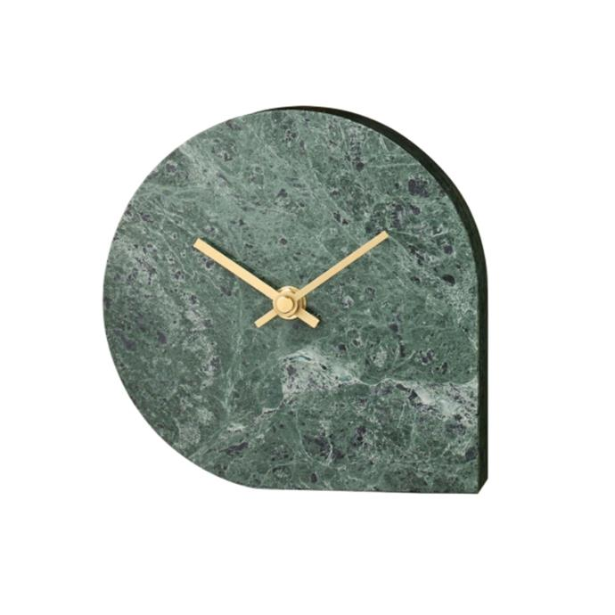 "Stilla green marble table watch, $175, [RoyalDesign.com](https://royaldesign.com/au/stilla-clock#/187816|target=""_blank""