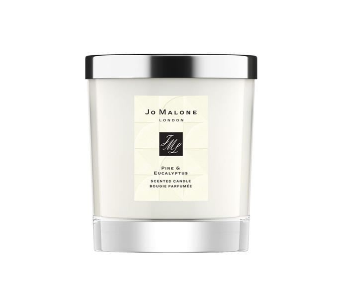 """Jo Malone Pine & Eucalyptus Home Candle, $95, [Myer](https://www.myer.com.au/p/jo-malone-london-pine-eucalyptus-home-candle-786305440-1 target=""""_blank"""" rel=""""nofollow"""") <br><br> """"Aromatic pine. Enlivening eucalyptus. Bright, bracing and bursting with excitement.The magic of Christmas morning. Timeless and always-adored."""""""