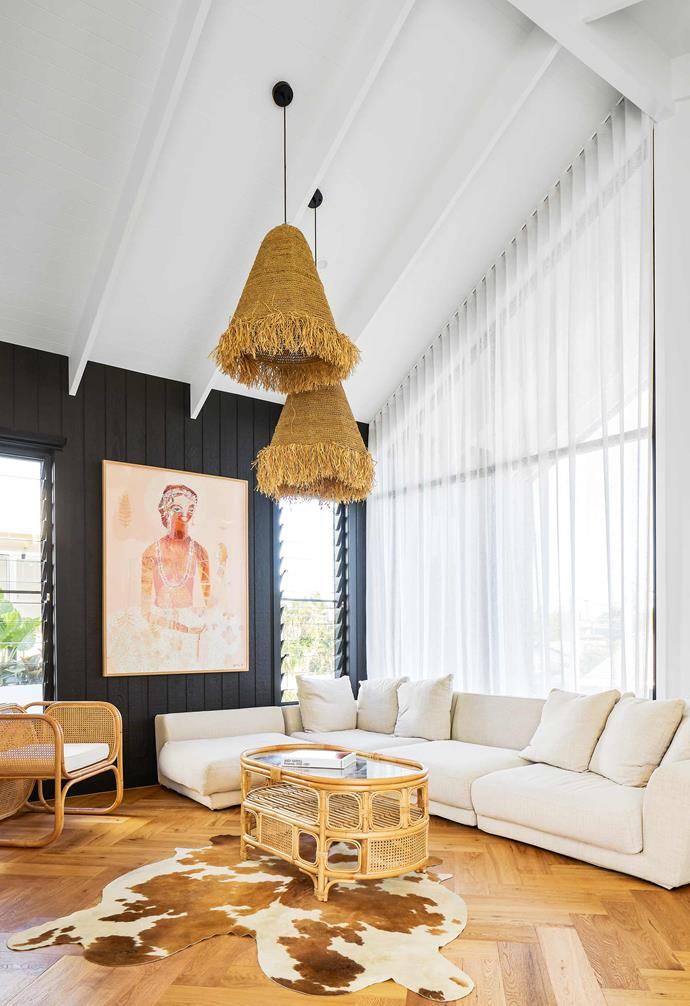 """**First-floor living** With 4.5m high exposed-rafter ceilings, this space is bright and airy. A large artwork by [Jai Vasicek](https://jaivasicek.com/