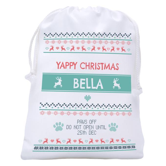 """Scandi Christmas Treat Bag, from $26.99, [Petstock](https://www.petstock.com.au/product/dog/scandi-christmas-treat-bag/74783