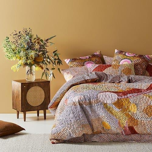 """Adairs Miimi + Jiinda Lowanna Quilted Quilt Cover, from $189.99, [Adairs](https://www.adairs.com.au/bedroom/quilt-covers-coverlets/adairs/miimi--jiinda-lowanna-quilted-quilt-cover/