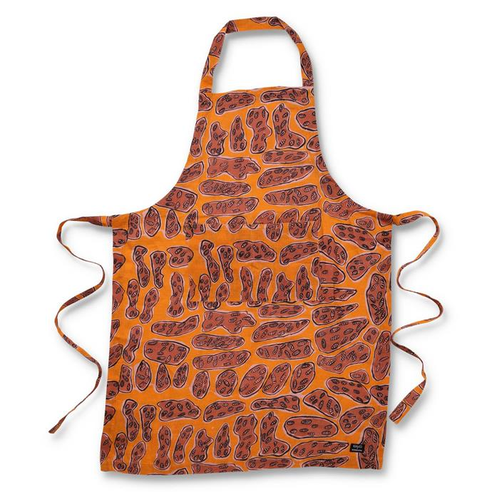 "Ngarduk Kunred linen apron, $69, [Kip&Co](https://kipandco.com.au/collections/table/products/ngarduk-kunred-linen-apron|target=""_blank""|rel=""nofollow"")"