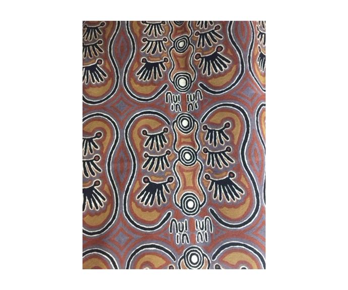"Aboriginal Art Handmade Chainstitched Rug, 72cm x 120cm by Alice Napanangka Granites, $350, [Kullilla Art](https://www.kullillaart.com.au/aboriginal-art-handmade-chainstitched-rug-72cm-x-1~85133|target=""_blank""|rel=""nofollow"")"