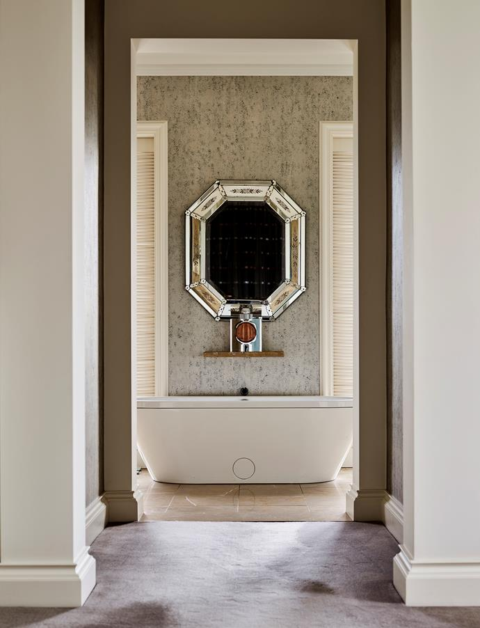 French Art Deco mirror, Edward Clark Antiques. Bette 'Classic' bath, available from Argent Australia.