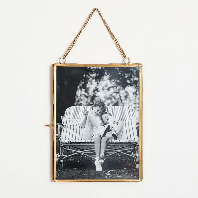 "Cannes Hanging Frame in Brass, $49.95, [Provincial Home Living](https://www.provincialhomeliving.com.au/groups/gifts-under-100/cannes-hanging-frame|target=""_blank""