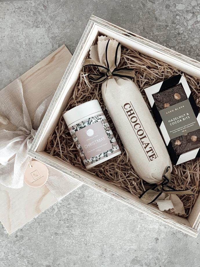 "Sweet Christmas Hamper, $105, [The Good Gift Co.](https://www.thegoodgiftco.com.au/collections/christmas-gift-hampers/products/sweet-christmas|target=""_blank""