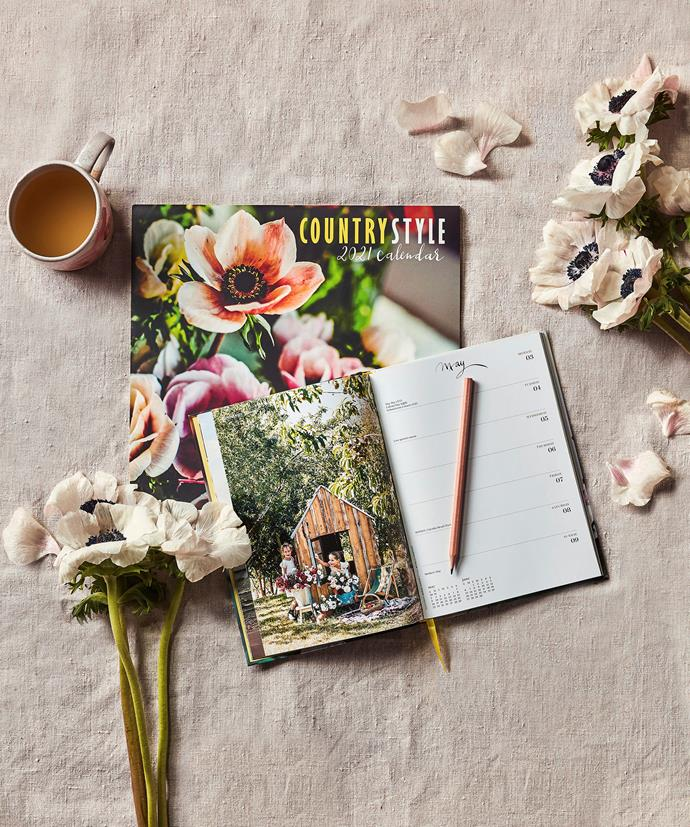 "Country Style 2021 Calendar, $14.95, and 2021 diary, $16.95, [BHG Shop](https://www.bhgshop.com.au/products/copy-of-country-style-2021-calendar?utm_source=Website&utm_medium=Website&utm_campaign=Homes%20To%20Love|target=""_blank"")"