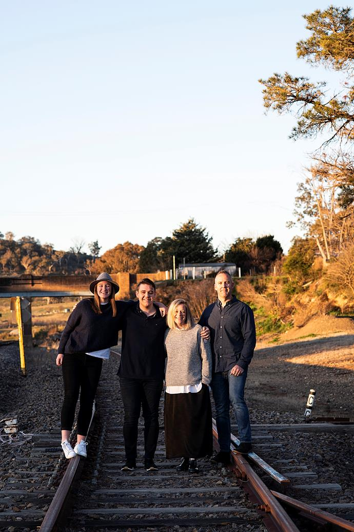 The family at the nearby rail tracks.