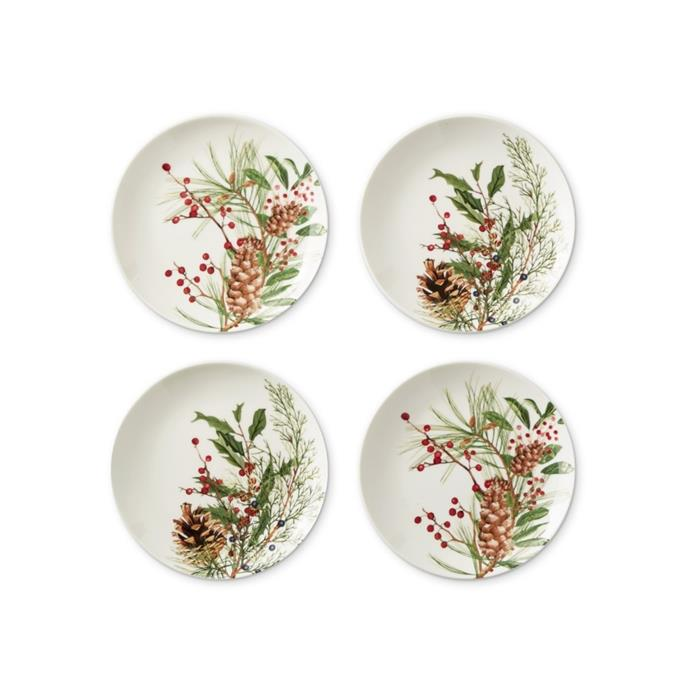 """Woodland berry appetizer plates, $62, [Williams Sonoma](https://www.williams-sonoma.com.au/woodland-berry-appetizer-plates-set-of-4-mixed