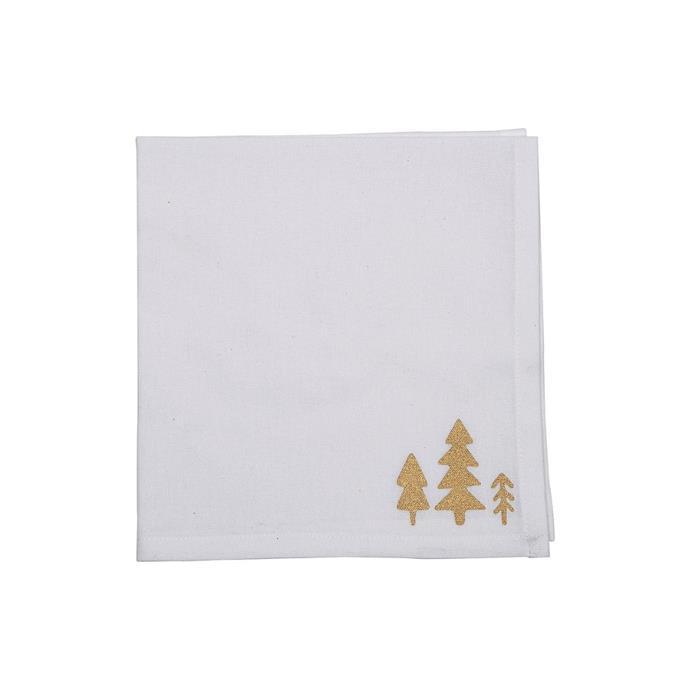 "Trees of gold napkin set of 4, $19.95, [David Jones](https://www.davidjones.com/home-and-food/christmas/christmas-tabletop/23663598/TREES-OF-GOLD-NAPKIN-SET-OF-4.html|target=""_blank""|rel=""nofollow"")"