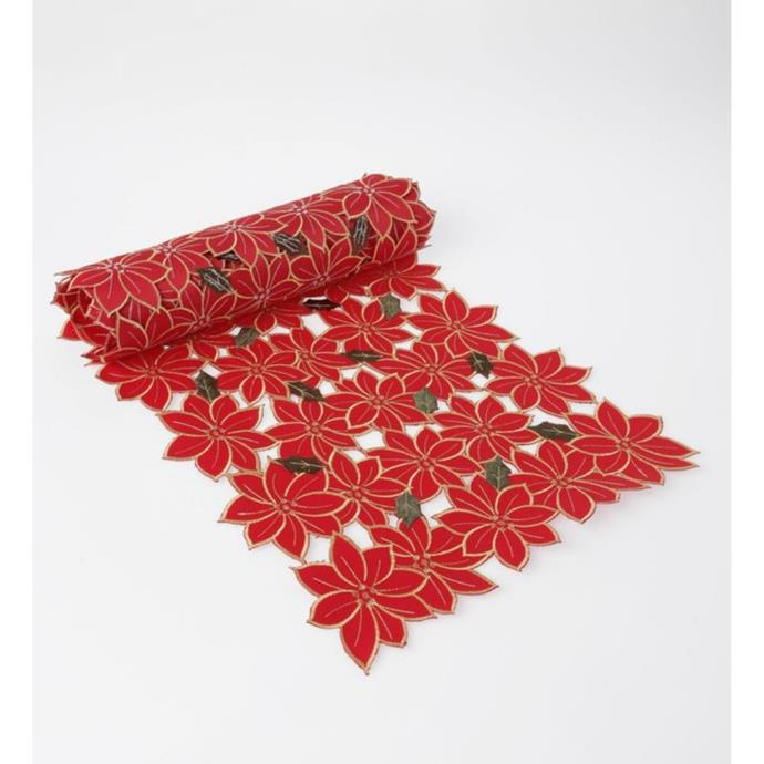 "Heritage floral cutwork runner, $17.97, [Myer](https://www.myer.com.au/p/heritage-floral-cutwork-runner-repeat-1|target=""_blank""|rel=""nofollow"")"