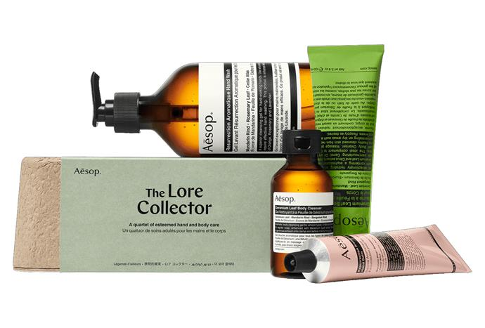 """The Lore Collector Gift Kit, $115, [Aesop](https://www.aesop.com/au/p/kits-travel/gift-kits/the-lore-collector/