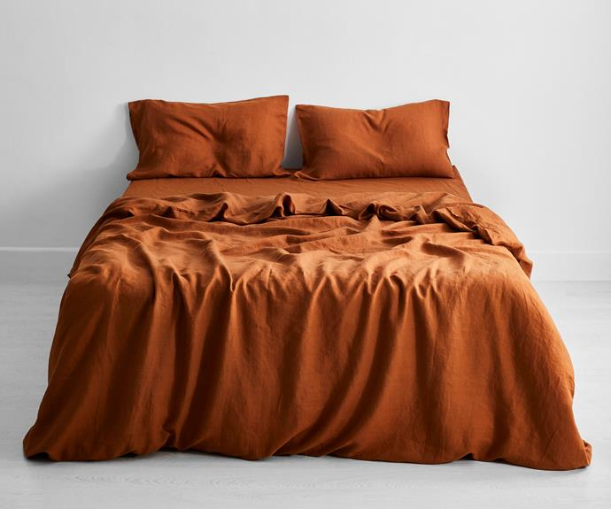 """Rust 100% Flax Linen Bedding Set, from $250, [Bed Threads](https://bedthreads.com.au/collections/bedding-sets/products/rust-100-flax-linen-bedding-set