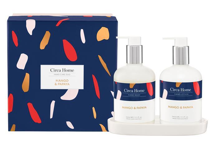 "Mango & Papaya Hand Care Duo Gift Set, $59.95, [Circa Home](https://circahome.com.au/products/mango-papaya-hand-care-gift-set|target=""_blank""|rel=""nofollow"")."