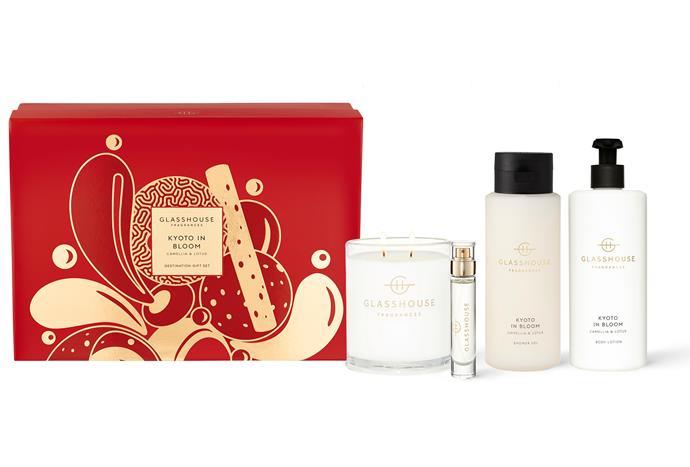 "Kyoto in Bloom Gift Set, $125, [Glasshouse Fragrances](https://www.glasshousefragrances.com/products/kyoto-in-bloom-1?variant=32897178632276|target=""_blank""|rel=""nofollow"")."