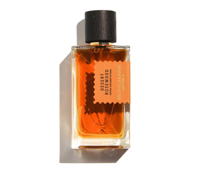 "Desert Rosewood Parfum, $229, [Goldfield + Banks](https://www.goldfieldandbanks.com/products/desert-rosewood|target=""_blank""|rel=""nofollow"")."