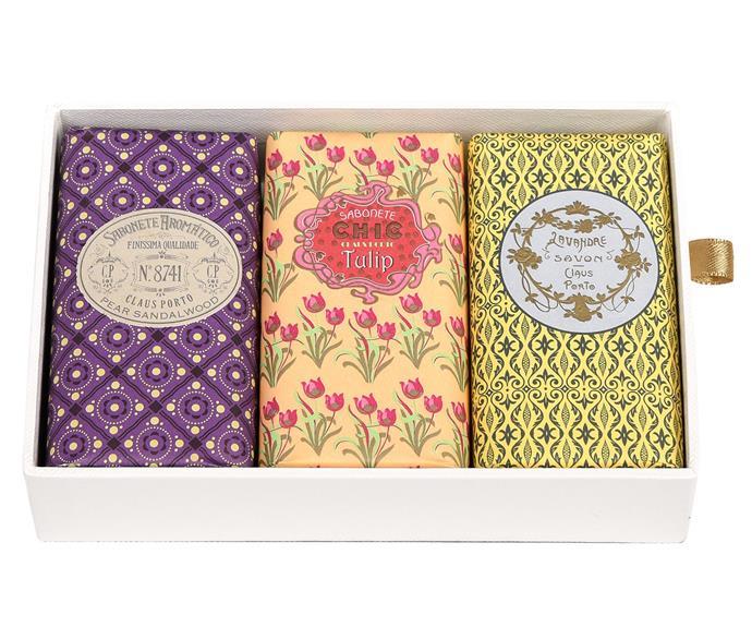 "Classico Soap Gift Box, $89, [Libertine Parfumerie](https://www.libertineparfumerie.com.au/product/classico-soap-gift-box-no-2/|target=""_blank""|rel=""nofollow"")."