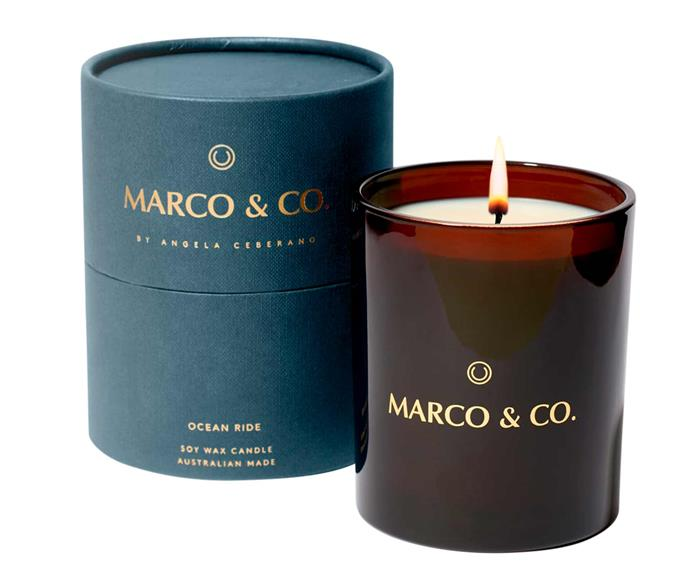 """Ocean Ride Candle, $79, [Marco & Co](https://marcoandco.com.au/collections/shop/products/ocean-ride