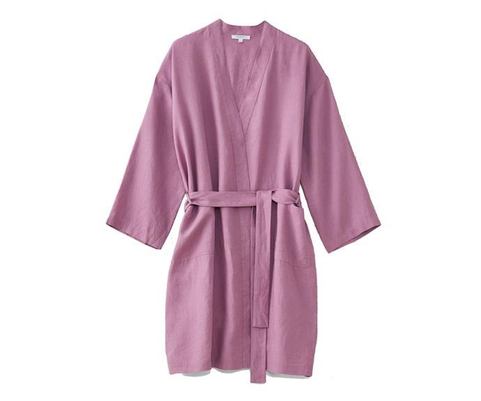 "Abbotsen Linen Unisex Robe, $199, [Sheridan](https://www.sheridan.com.au/abbotson-linen-unisex-robe-s7p9-b115-c243-620-crocus.html|target=""_blank""|rel=""nofollow"")."