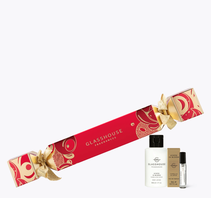 "Camellia & Lotus Kyoto in Bloom Christmas Bon Bon, $15.95, [Glasshouse Fragrances](https://www.glasshousefragrances.com/products/christmas-bon-bon-kyoto-in-bloom?variant=32897103233108|target=""_blank""