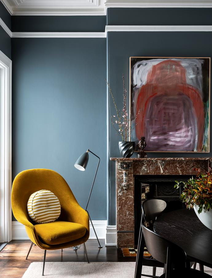 Gubi 'Bat' armchair, Cult. Always Another artwork by Jenny Lundgren. Feelgood Designs 'Chair 170' dining chairs, Project 82. Tide Design dining table, Workshopped.