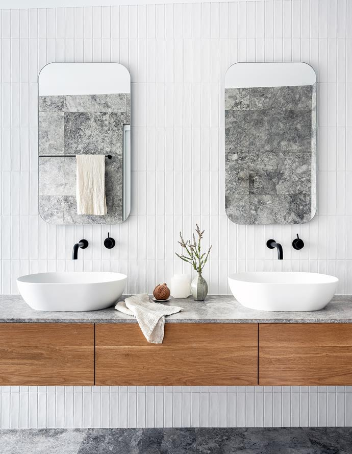 Abey basins from Cass Brothers. Custom American-oak vanity from Surface Gallery. Terracotta pomegranate, Santa Maria Novella. Society Limonta towel and alabaster canister, Ondene.