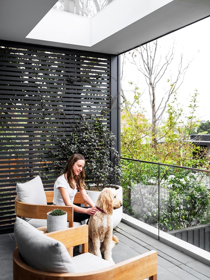 Ava and Biscuit look out to the backyard. Balmain armchairs from Harbour Outdoor.