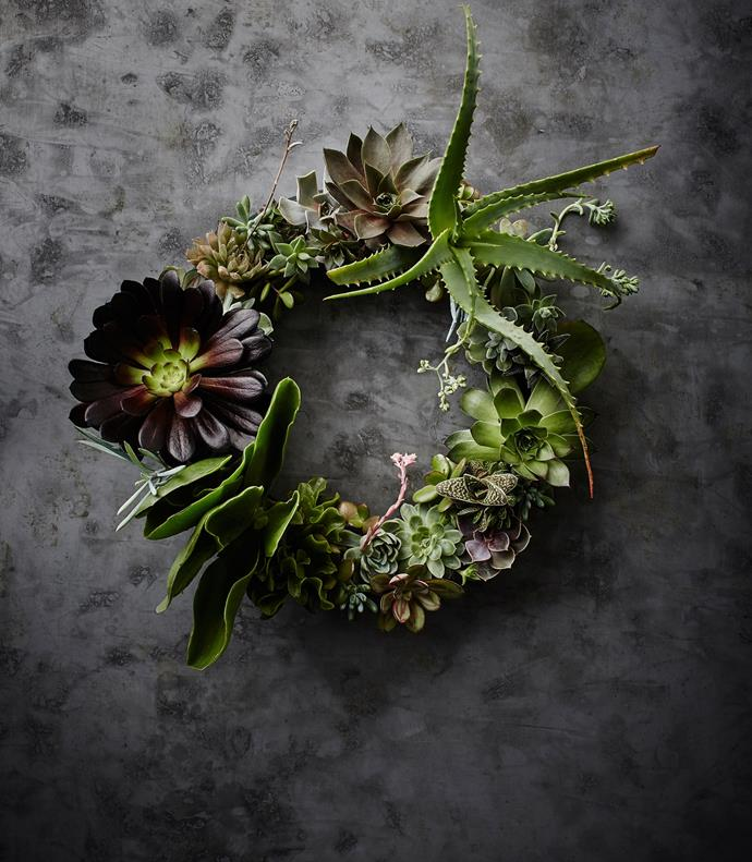 """You don't want the wreath to look too planned, so work with the natural forms of the plants, playing with interesting."""