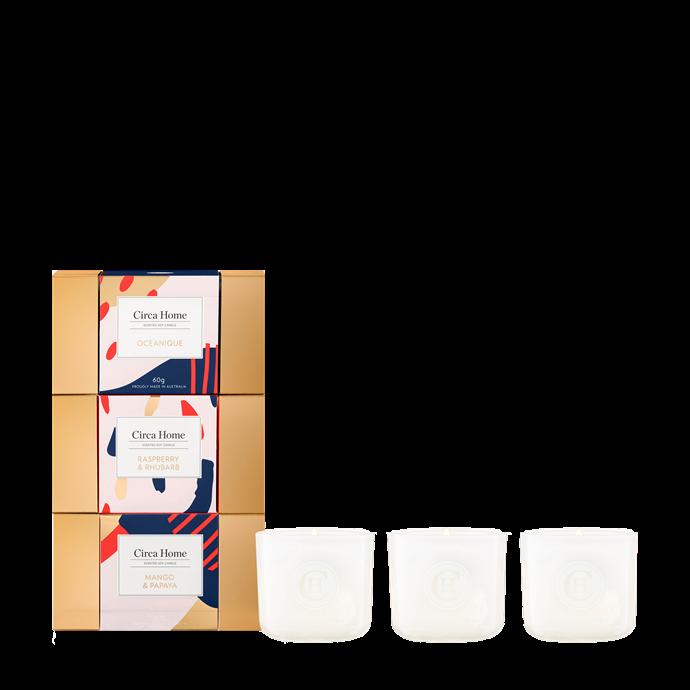 """Mini Candle Bon Bon Trio, $49.95, [Circa Home](https://circahome.com.au/products/mini-candle-bon-bon-trio target=""""_blank"""" rel=""""nofollow"""")"""
