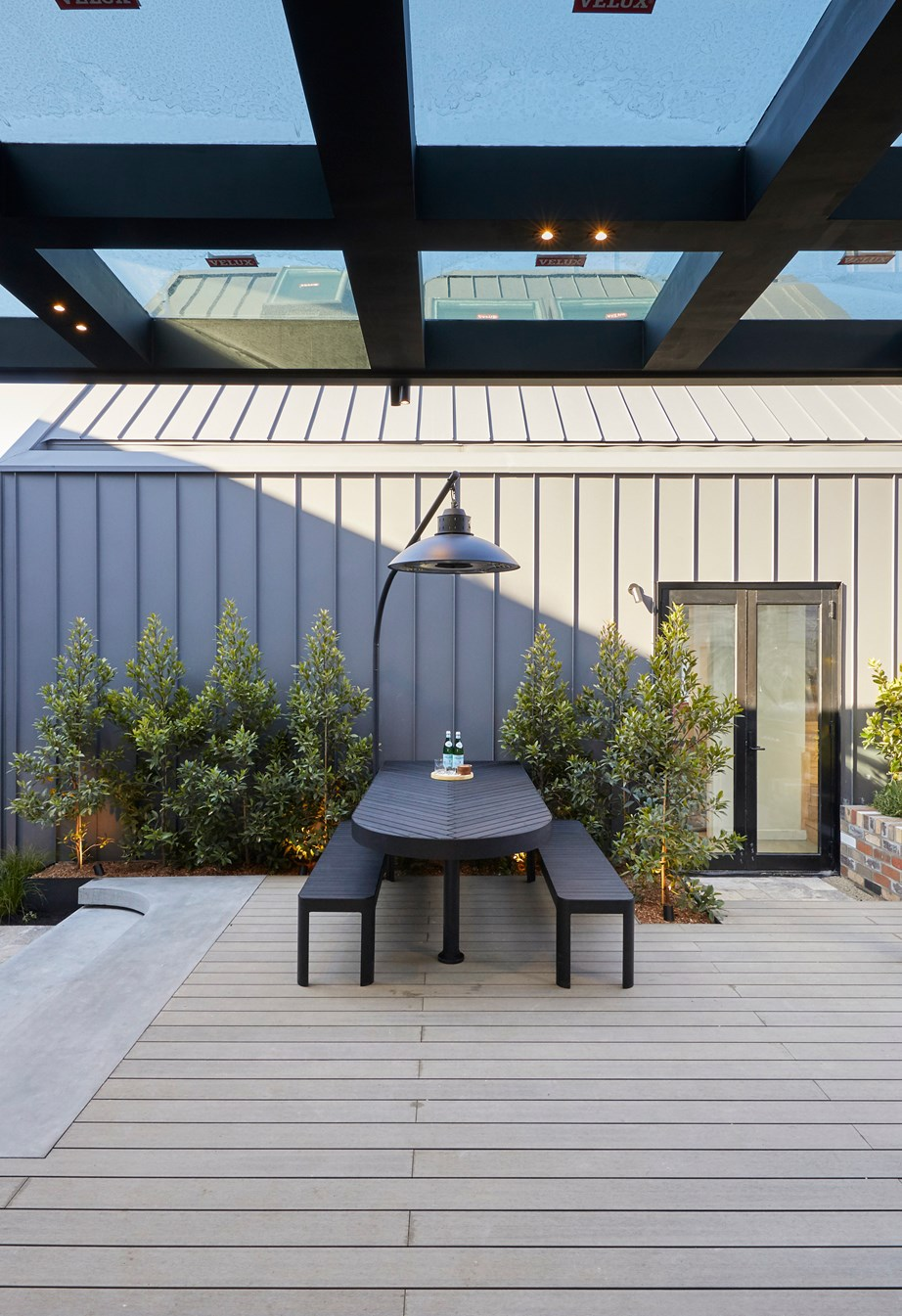"""**Week 12, Backyard and Pool** Sarah and George were awarded a perfect score of 30/30 for their multifunctional outdoor area and backyard. """"To deliver this much amenity, and style, and value – this is a selling point,"""" said Darren."""