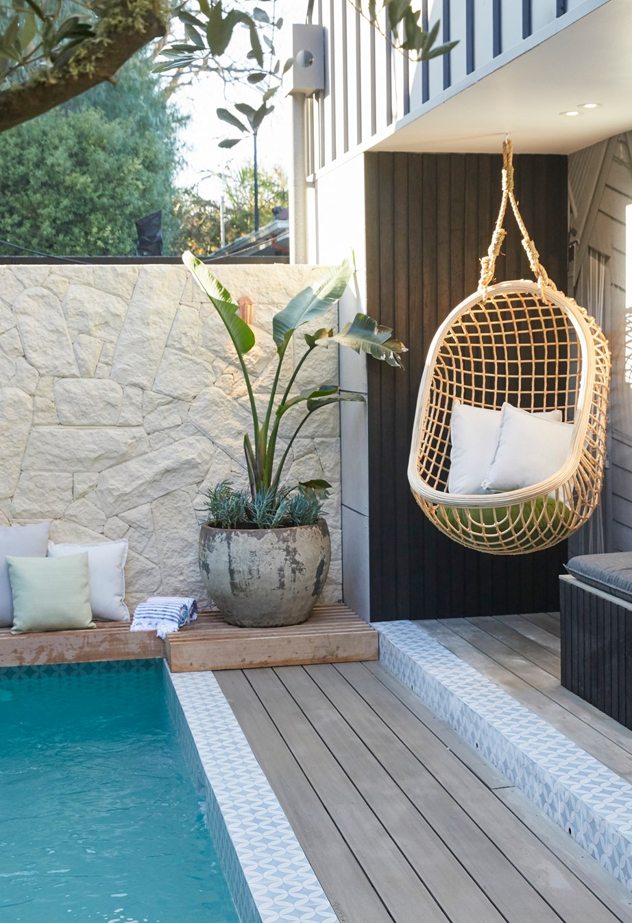 **Week 12, Backyards and Pool** With The Block's favourite landscape designer Dave Franklin at their side, Sarah and George created an inviting and tranquil outdoor oasis complete with an integrated barbecue and pizza oven, stunning pool area with a limestone feature wall and a lush mix of plantings that had the judges swooning.