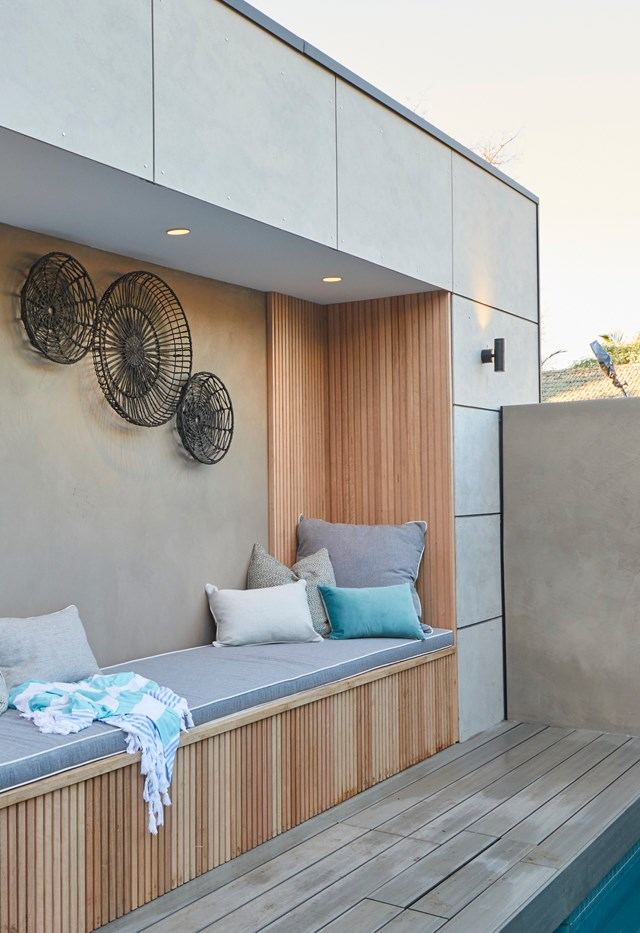 **Week 12, Backyard and Pool** In the pool area, the judges loved the idea of the timber bench seat but noted that the space lacked personality and style.