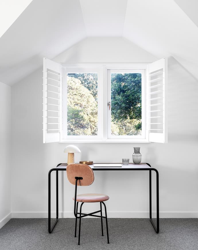 Thonet desk, Anibou. Vide Poche Rond (trinket dish) in bronze, Studio Henry Wilson. Fritz Hansen 'Night Owl' table lamp, Cult. Menu 'Afteroom' dining chair, Designstuff.
