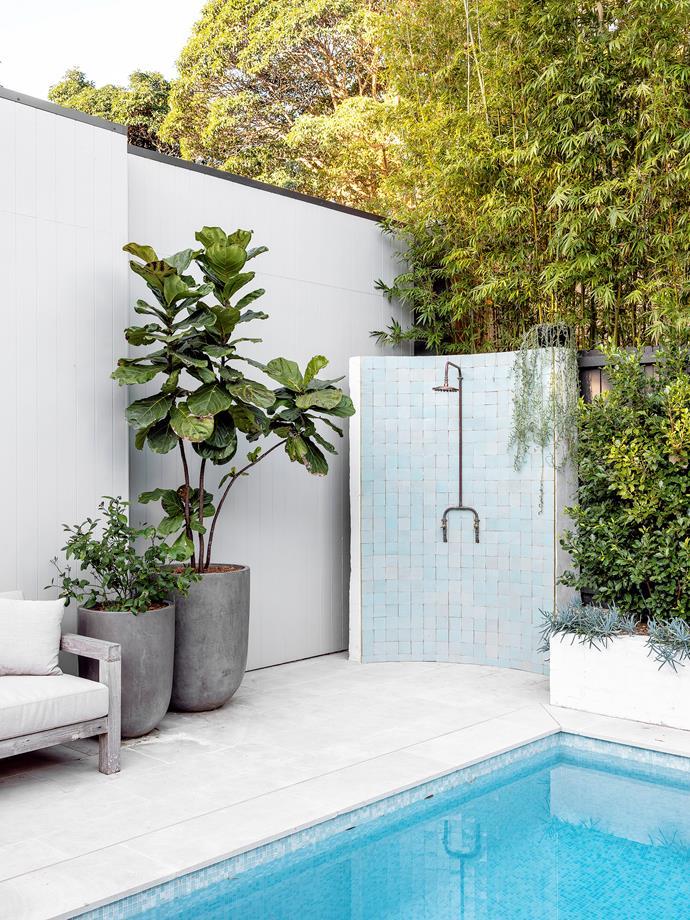Custom outdoor shower. Handmade Moroccan tiles, Di Lorenzo Tiles. Pots, Garden Life.