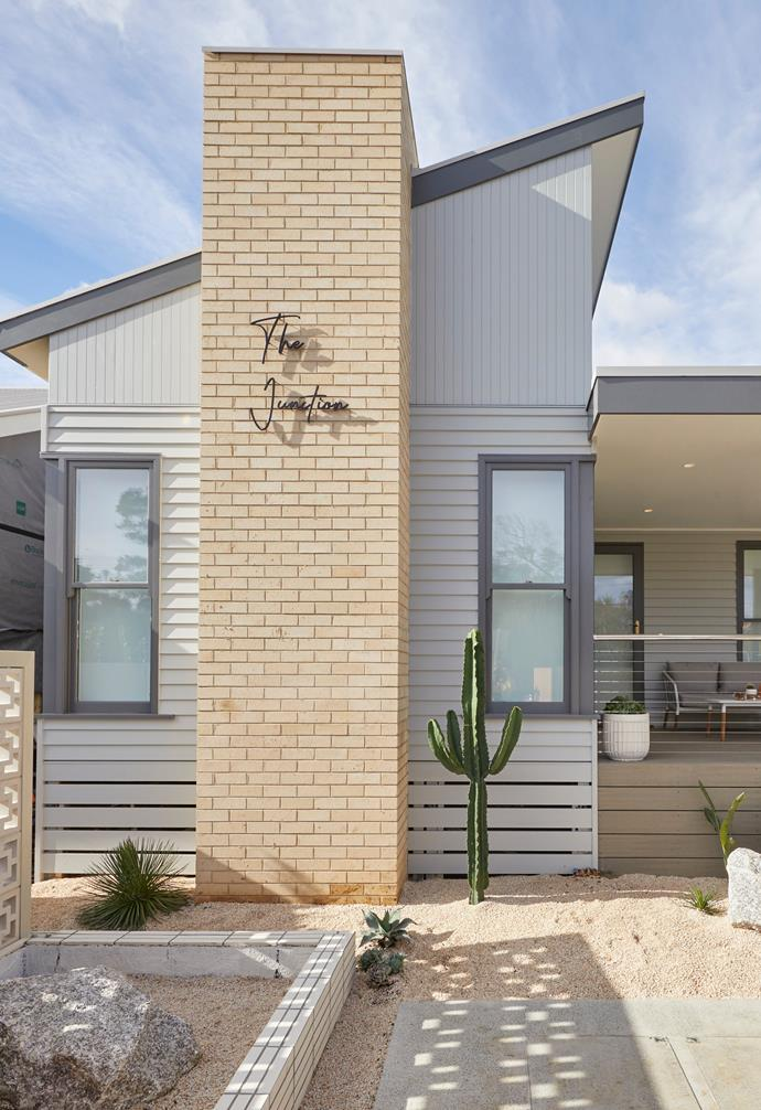 "**[Week 10, Front garden and Facade Week](https://www.homestolove.com.au/the-block-2020-front-garden-and-facade-21961|target=""_blank"")** Channelling Palm Springs once again for their homes exterior, Jimmy and Tam chose a sparse desert-style garden with ample cactii and added breeze blocks as a stunning feature detail."