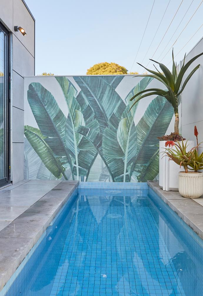 **[Week 12, Backyard and Pool Week](https://www.homestolove.com.au/the-block-2020-backyard-pool-reveals-22011)** A striking mosaic palm tree feature wall added a splash to Jimmy and Tam's backyard pool area, but the judges weren't a fan of their closed off cabana area.