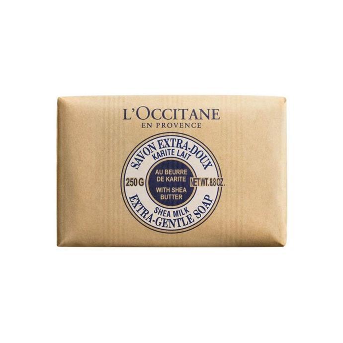 "Extra gentle soap, $17, [L'Occitane](https://au.loccitane.com/extra-gentle-milk-soap,23,1,1226,1235717.htm#s=11822?ranMID=39095&ranEAID=2116208&ranSiteID=TnL5HPStwNw-sC124ZqWaK.Mm3LQetiDWQ&cm_mmc=Linkshare-_-User-_-Default-_-None|target=""_blank""|rel=""nofollow"")"