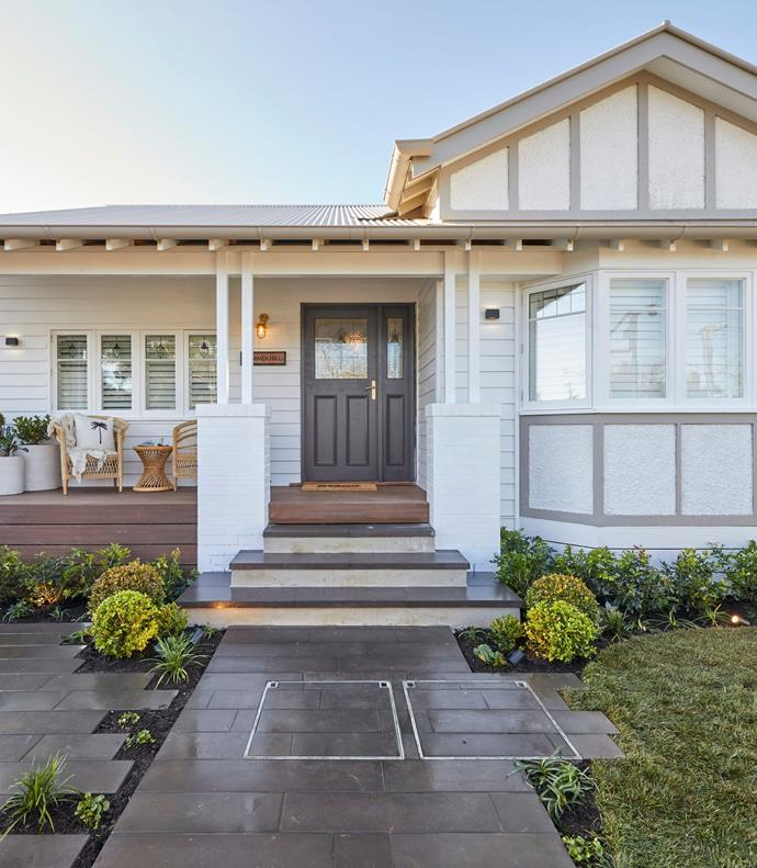 **Week 10, Front Yard and Facade** Luke and Jasmin created a contemporary garden that blends beautifully with the heritage of the home, complete with an inviting front porch and both paved and lawn areas.