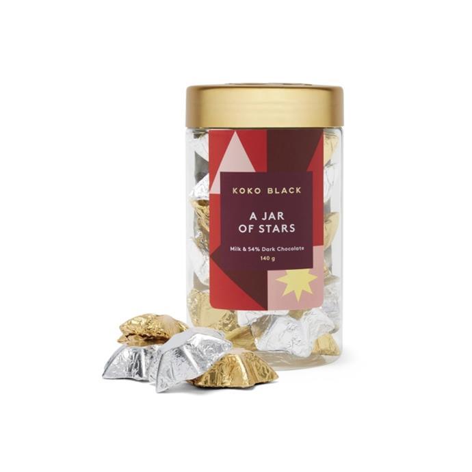 "A Jar of Stars milk & dark chocolate, $17.50, [Koko Black](https://www.kokoblack.com/products/a-jar-of-stars-milk-and-dark-chocolate|target=""_blank""|rel=""nofollow"")"