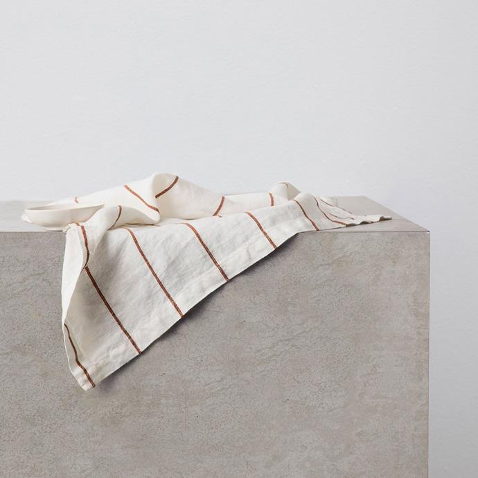 "Linen Table Napkins - Cedar Stripe, 4 for $50, [Cultiver](https://cultiver.com.au/products/linen-table-napkin-cedar-stripe?variant=32891310145559|target=""_blank""|rel=""nofollow"")"