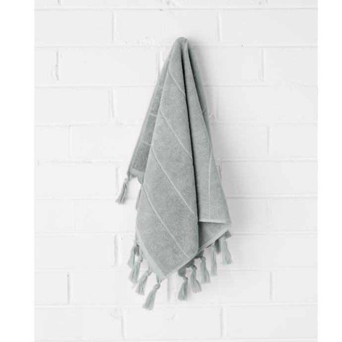 "Paros hand towel in limestone, $24.95, [Aura Home](https://www.aurahome.com.au/paros-hand-towel-limestone|target=""_blank""|rel=""nofollow"")"