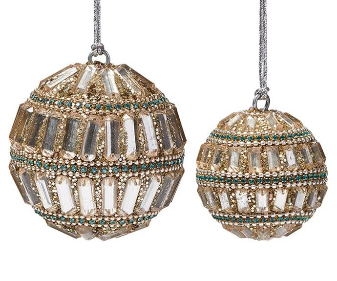 """Gatsby Gold Bauble, from $6.99, [Adairs](https://www.adairs.com.au/homewares/christmas/adairs/gatsby-gold-bauble-3f86fa83/