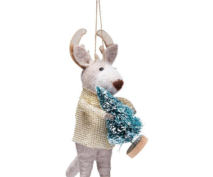 "Reindeer Grey Felted Friends Ornament, $12.99, [Adairs](https://www.adairs.com.au/homewares/christmas/adairs/reindeer-grey-felted-friends-ornament/|target=""_blank""|rel=""nofollow"")."