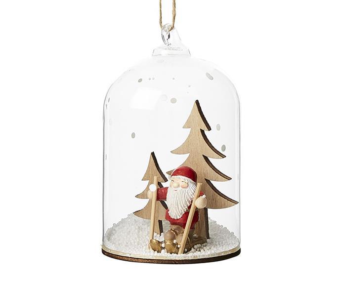 "Dome Glass Santa Ski Cylinder Ornament, $12.99, [Adairs](https://www.adairs.com.au/homewares/christmas/adairs/dome-glass-santa-ski-cylinder-ornament/|target=""_blank""|rel=""nofollow"")."