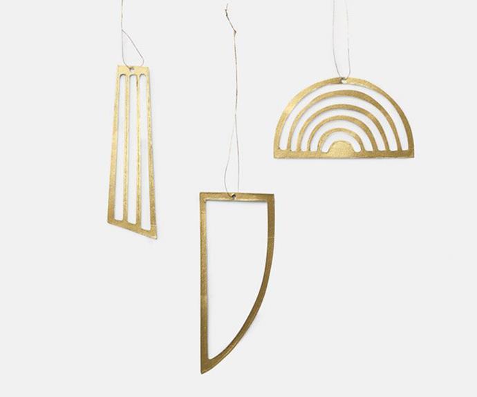 "Ferm Living Golden Ornaments, $25/set of 3, [Etos Living](https://www.etosliving.com.au/products/golden-ornaments-set-of-3-by-ferm-living|target=""_blank""|rel=""nofollow"")."