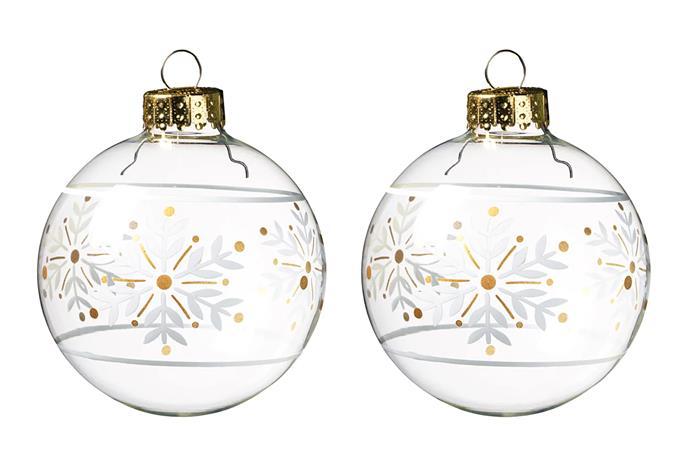 "VINTER Clear Glass Baubles, $11.99/3 pack, [IKEA](https://www.ikea.com/au/en/p/vinter-2020-decoration-bauble-clear-glass-white-80475179/|target=""_blank""|rel=""nofollow"")"