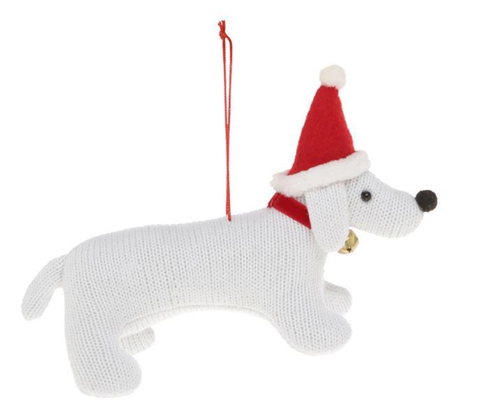 "Heirloom White Fabric Dog, $9.99, [Myer](https://www.myer.com.au/p/myer-giftorium-merry-bright-white-fabric-dog-wearing-red-santa-hat|target=""_blank""|rel=""nofollow"")."