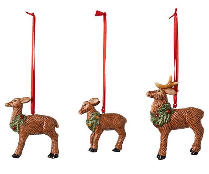 "Nostalgic Ornaments Deer Family Ornament Set, $61.95/set of 3, [Villeroy & Boch](https://www.villeroy-boch.com.au/shop/nostalgic-ornaments-ornaments-deer-family-set-3pcs-7x6cm.html|target=""_blank""|rel=""nofollow"")."